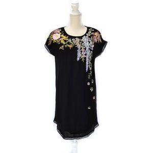 SUNDANCE Floral Embroidered Black Cap Sleeve Shift